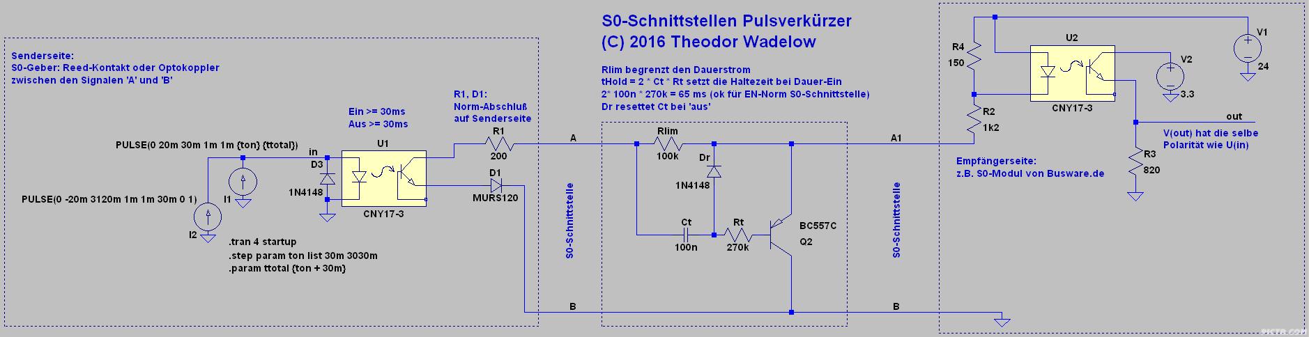 Schaltplan vom S0-Schnittstellen-Verkürzer