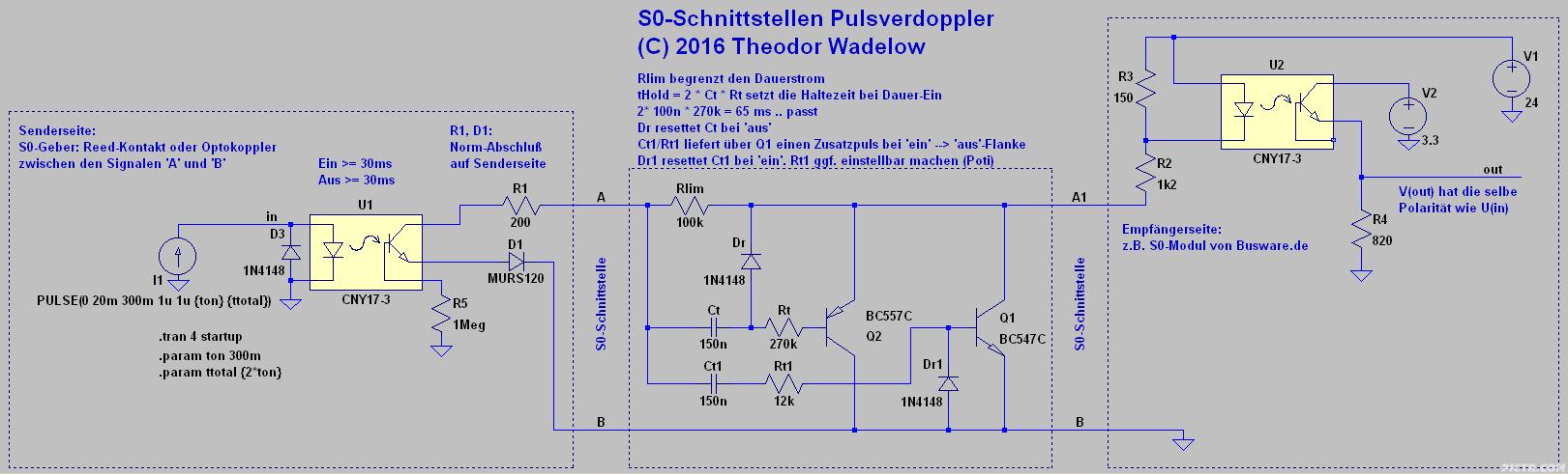 Schaltplan: S0-Pulsverdoppler bis ca. 3Hz