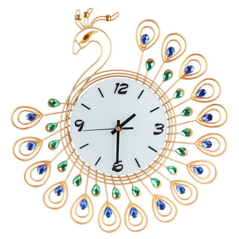 Wall Clocks Digital Luxury Peacock Large Metal Diamond Decorative