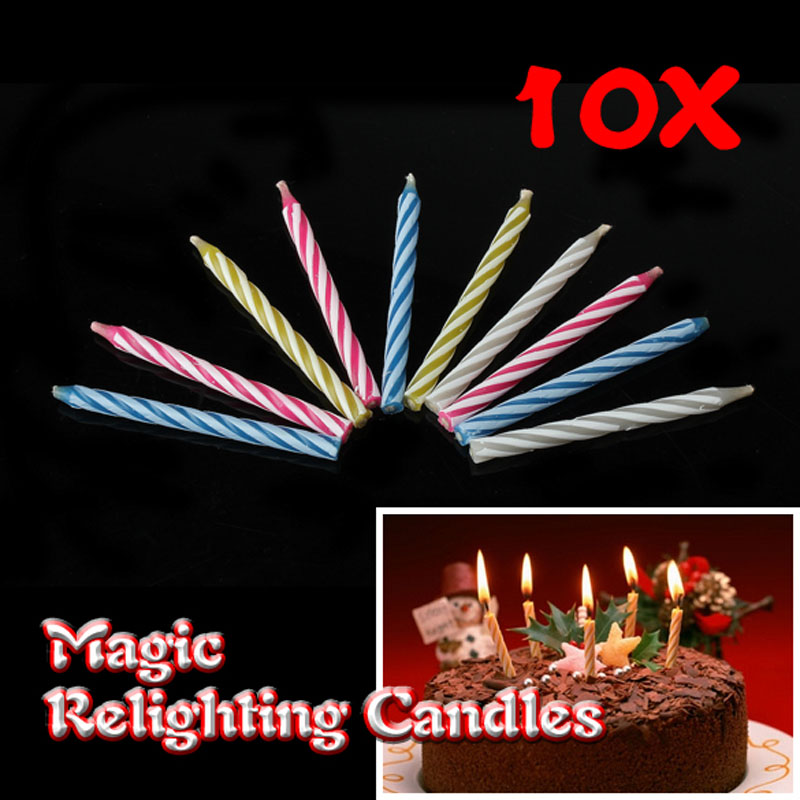 Details About Relighting Magic Birthday Candles Trick Cake Party Joke 10Pcs Candle Fun Toys