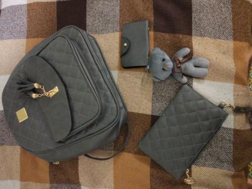 3Pcs Women Backpack Fashion School Leather Shoulder Bag Tassel Travel Backpack (8)