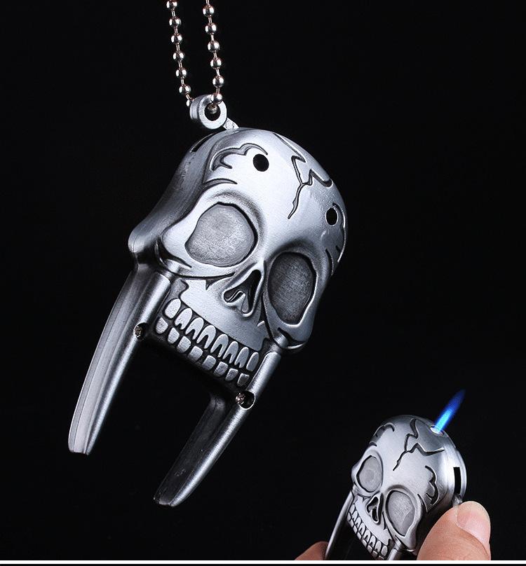 Mini Skull Head Metal Straight Flame Jet Torch Lighter Key