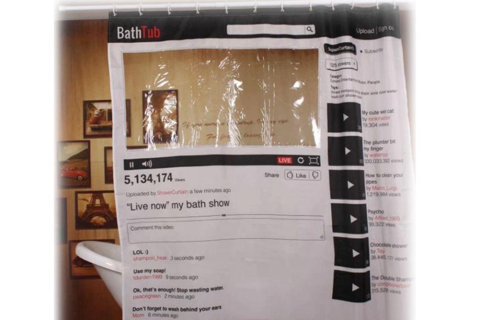Creative Youtube Shower Curtain Bathroom Fabric Waterproof 12 Hooks
