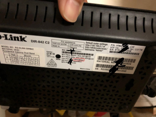 Unifi D-Link DIR-842 password?