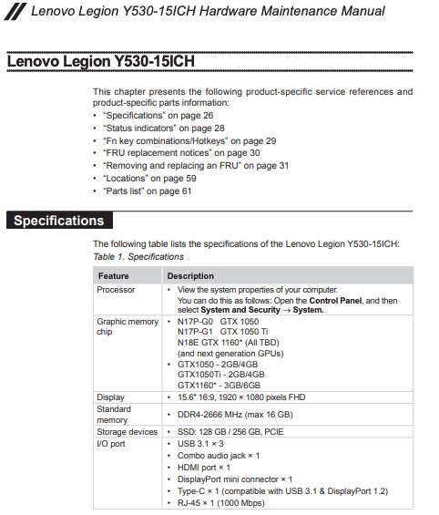 Lenovo Legion Gaming Laptop (Y530, Y730) Thread V1