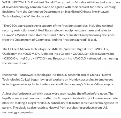 Trump meets with tech CEOs on Huawei