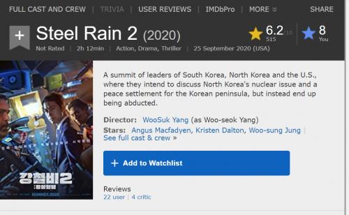 2020 10 11 20 31 24 Steel Rain 2 (2020) IMDb and 4 more pages Work Microsoft Edge