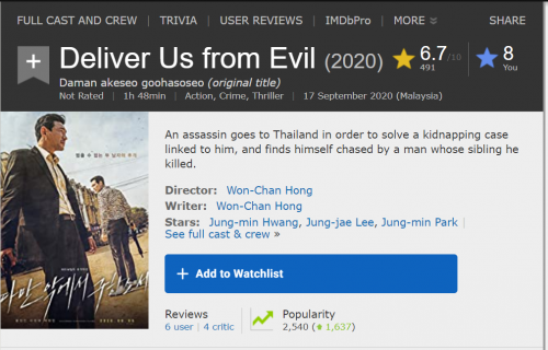 2020 10 12 07 20 29 Deliver Us from Evil (2020) IMDb and 4 more pages Work Microsoft Edge